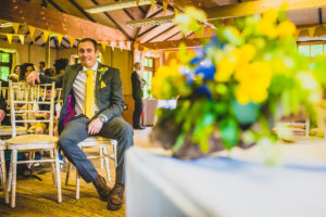 A nervous groom awaits his bride. Treehouse Wedding