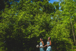 Bridesmaids arrive for the treehouse wedding in the new forest