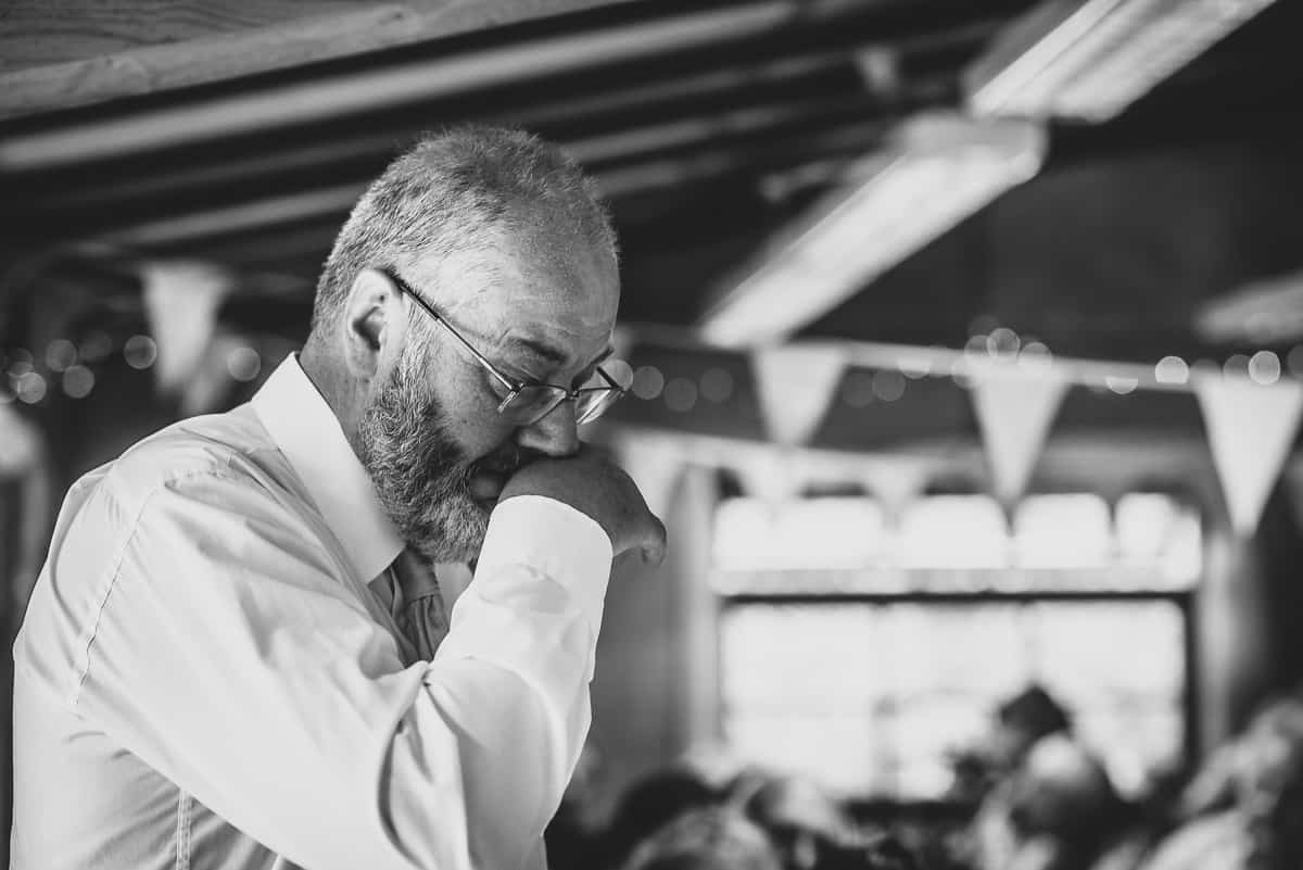 Emotional Father during a Hampshire Wedding