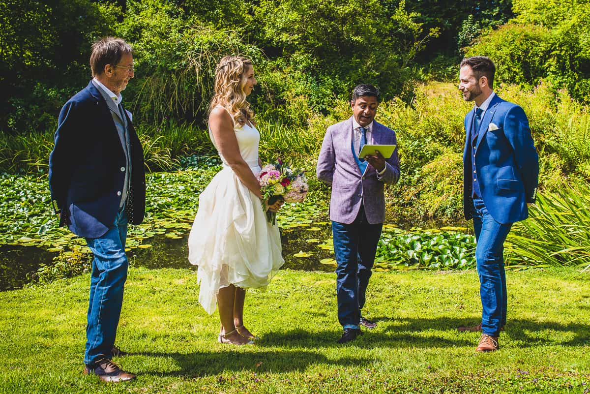 Relaxed and informal wedding ceremony conducted by friend of the couple.