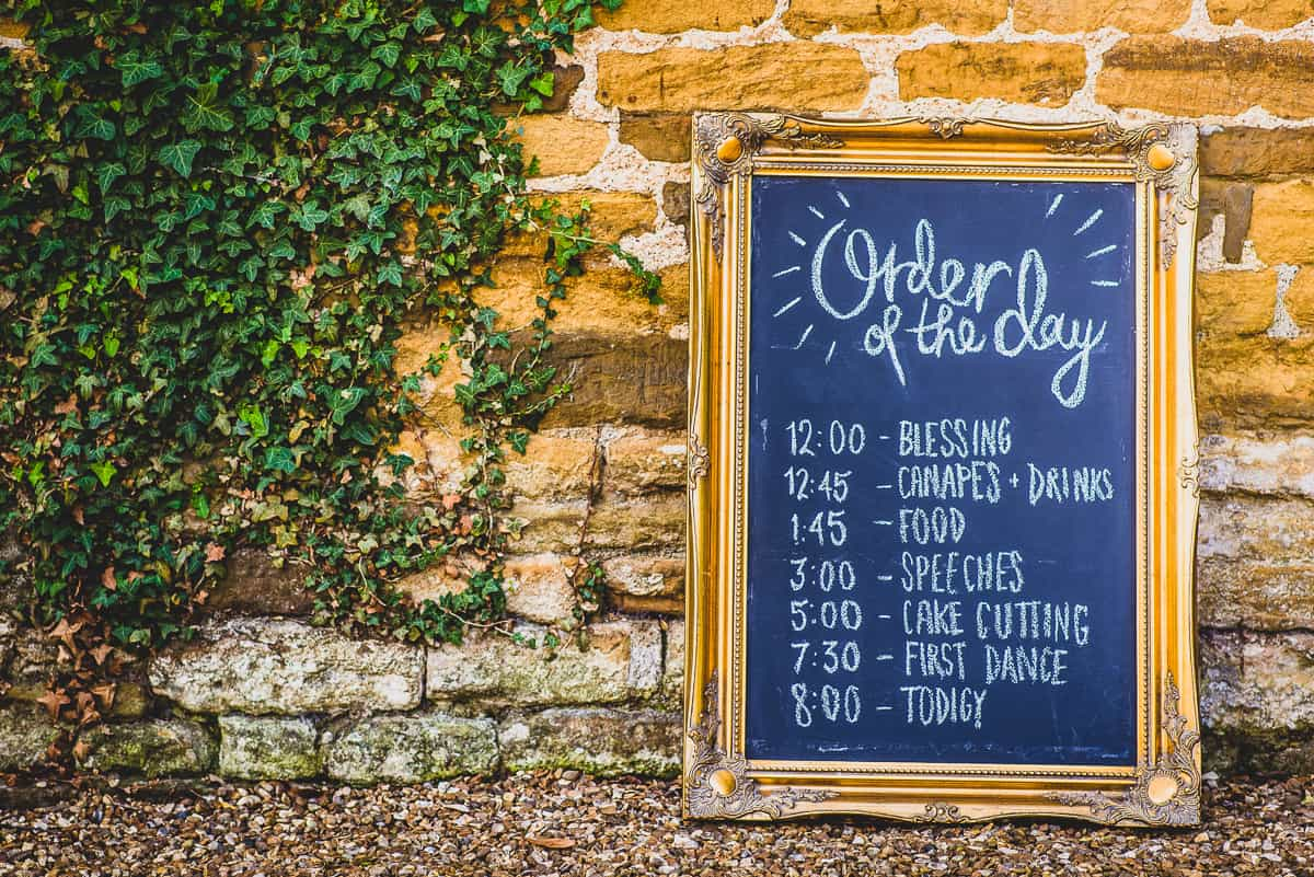 Order of the day board for fun, relaxed and informal wedding