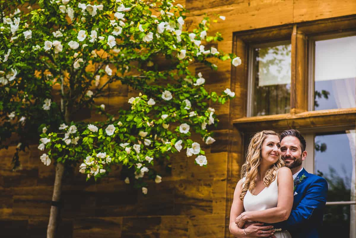 relaxed and natural bride and groom portrait at Mears Ashby Hall Wedding.