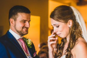 Tearful Bride during wedding vows at The Old Hall