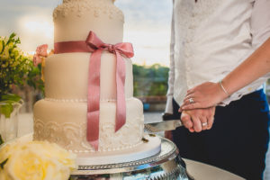 Wedding cake cutting at The Old Hall in Ely