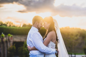 Sunset Wedding couple portrait at The Old Hall in Ely