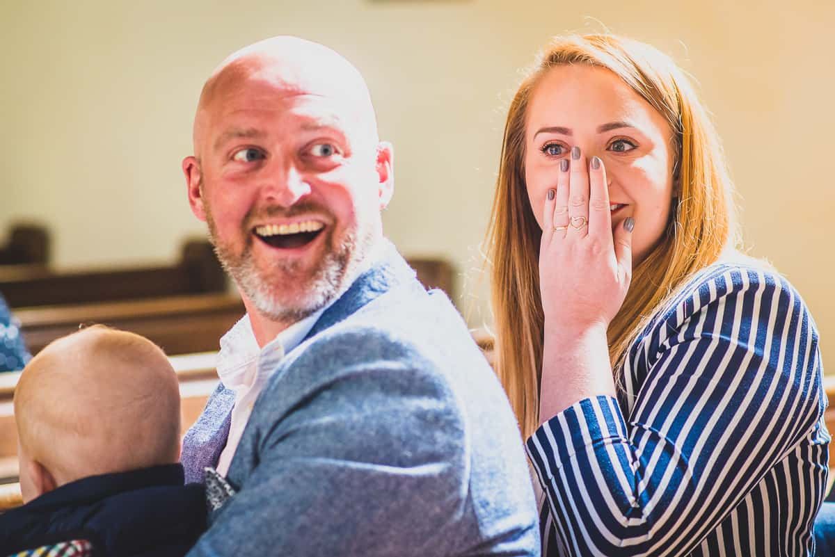 Stunned Christening guests realise they are at a surprise wedding.