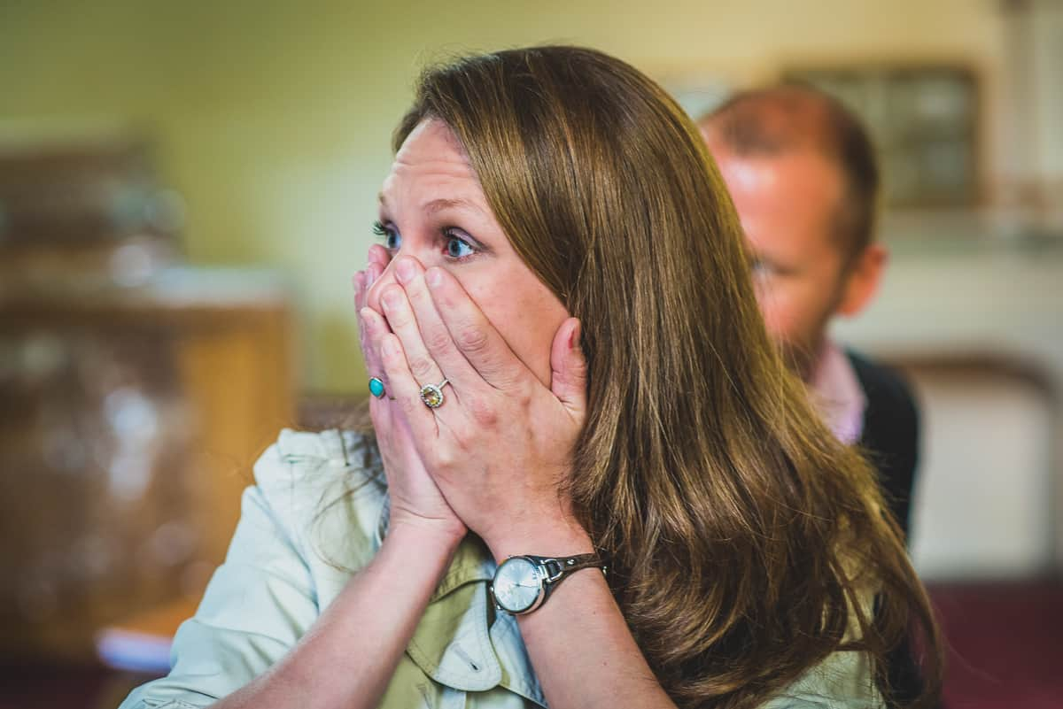 Stunned and emotional guest at secret wedding ceremony in Suffolk