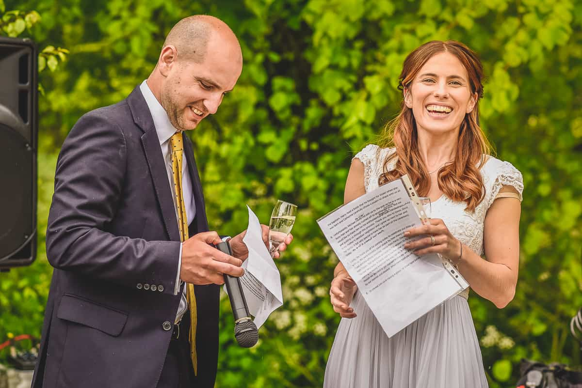 Bride and Groom speeches at their surprise Suffolk Wedding reception at The Swan pub in Eye