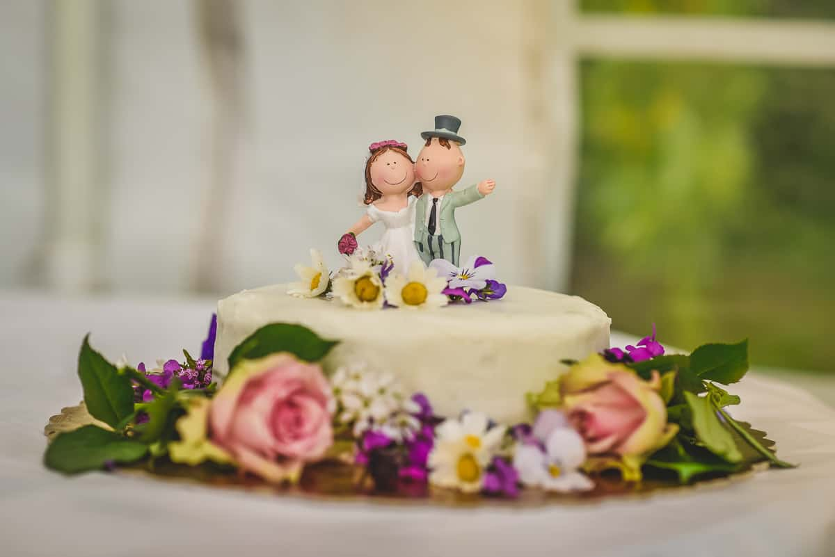 Simple wedding cake surrounded with flowers.