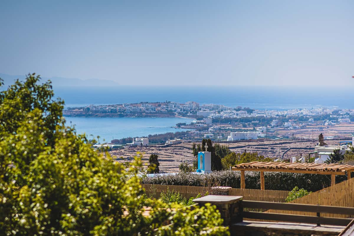 The view from Diles and Rinies resort across the bay in Greek Island of Tinos