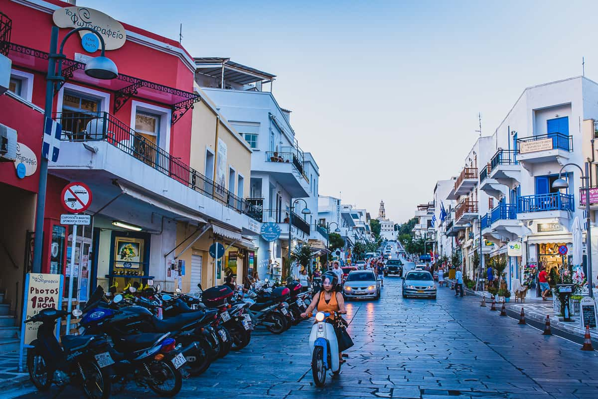 The busy bustling streets on Tinos island in Greece.