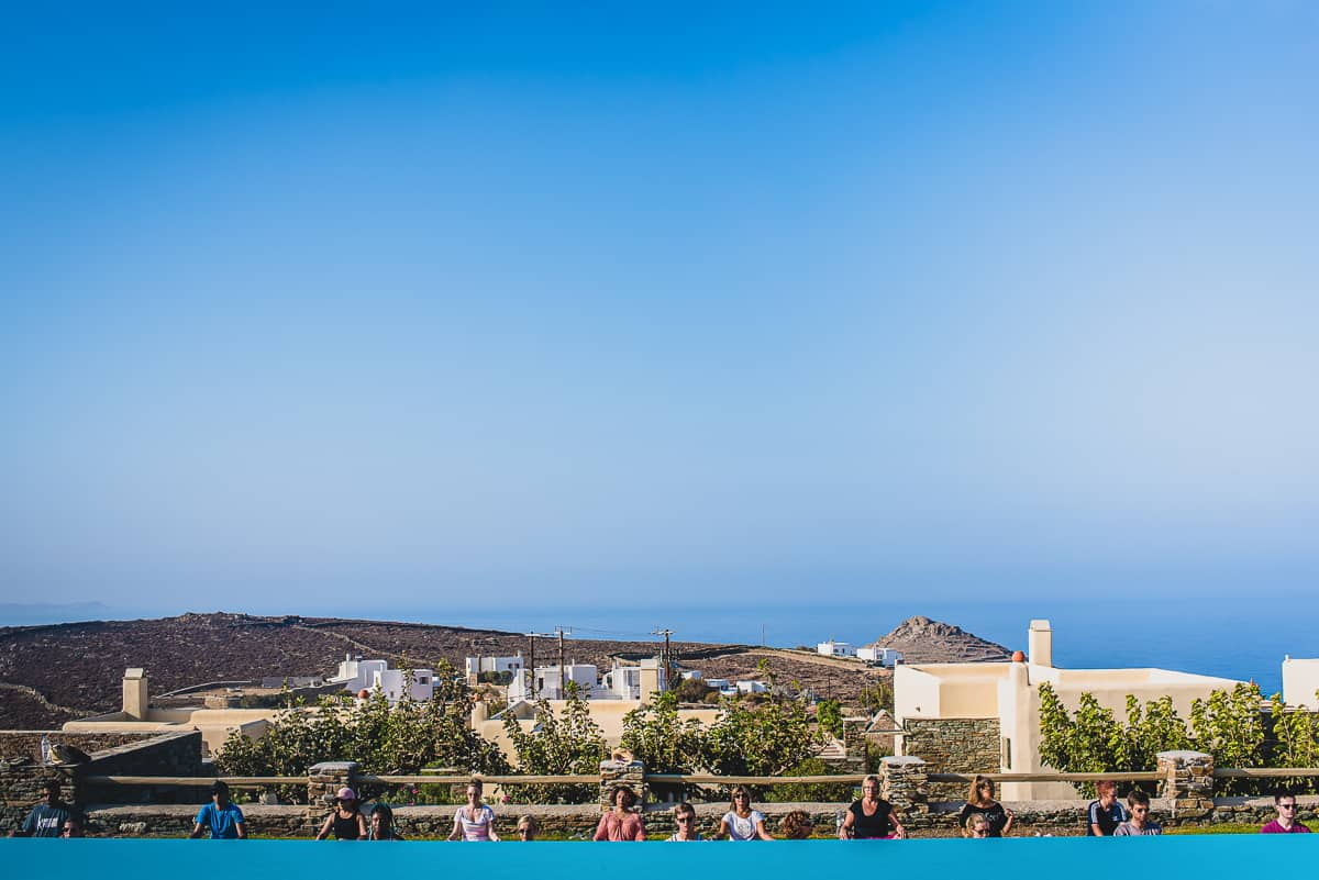 Morning yoga session by the pool at Diles & Rinies in Tinos