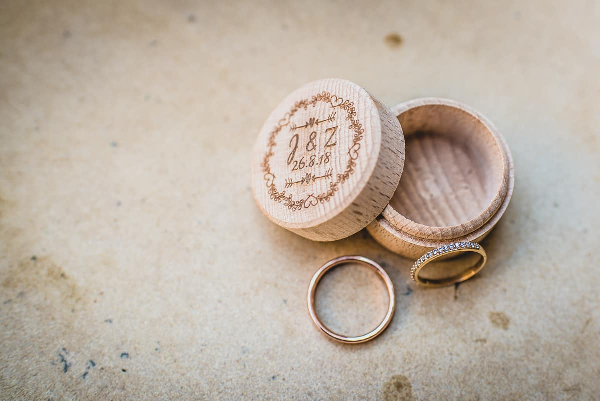 Rings and Ring box of Bridge and Groom. Destination Wedding photographer, Greece.