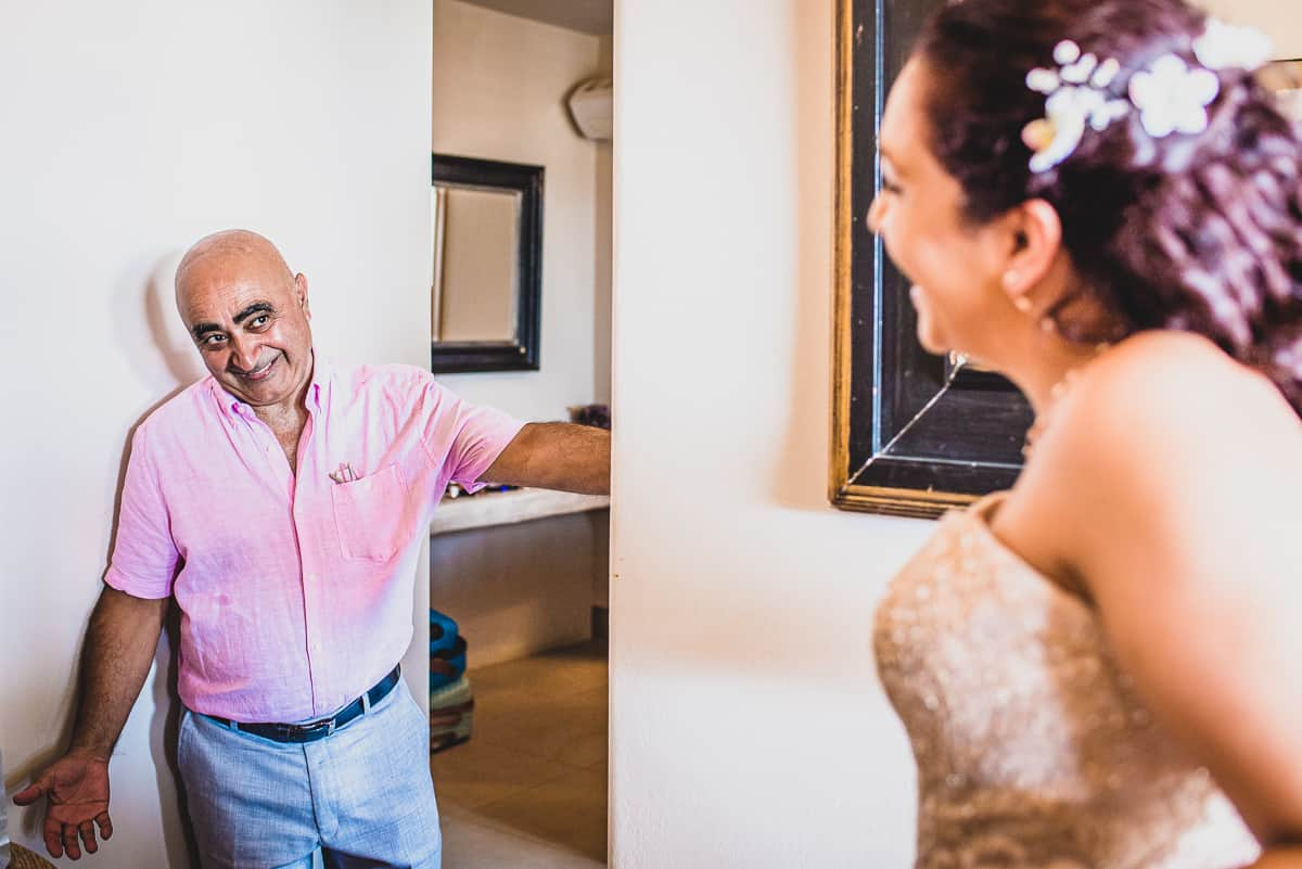 Destination Wedding in Greece - Bride's Dad sees her in Wedding dress for first time.