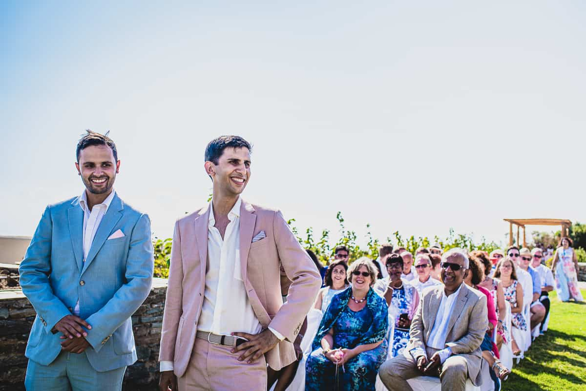 The Groom and best man wait for the Bride at Wedding in Diles and Rinies luxury Villas resort in TInos.