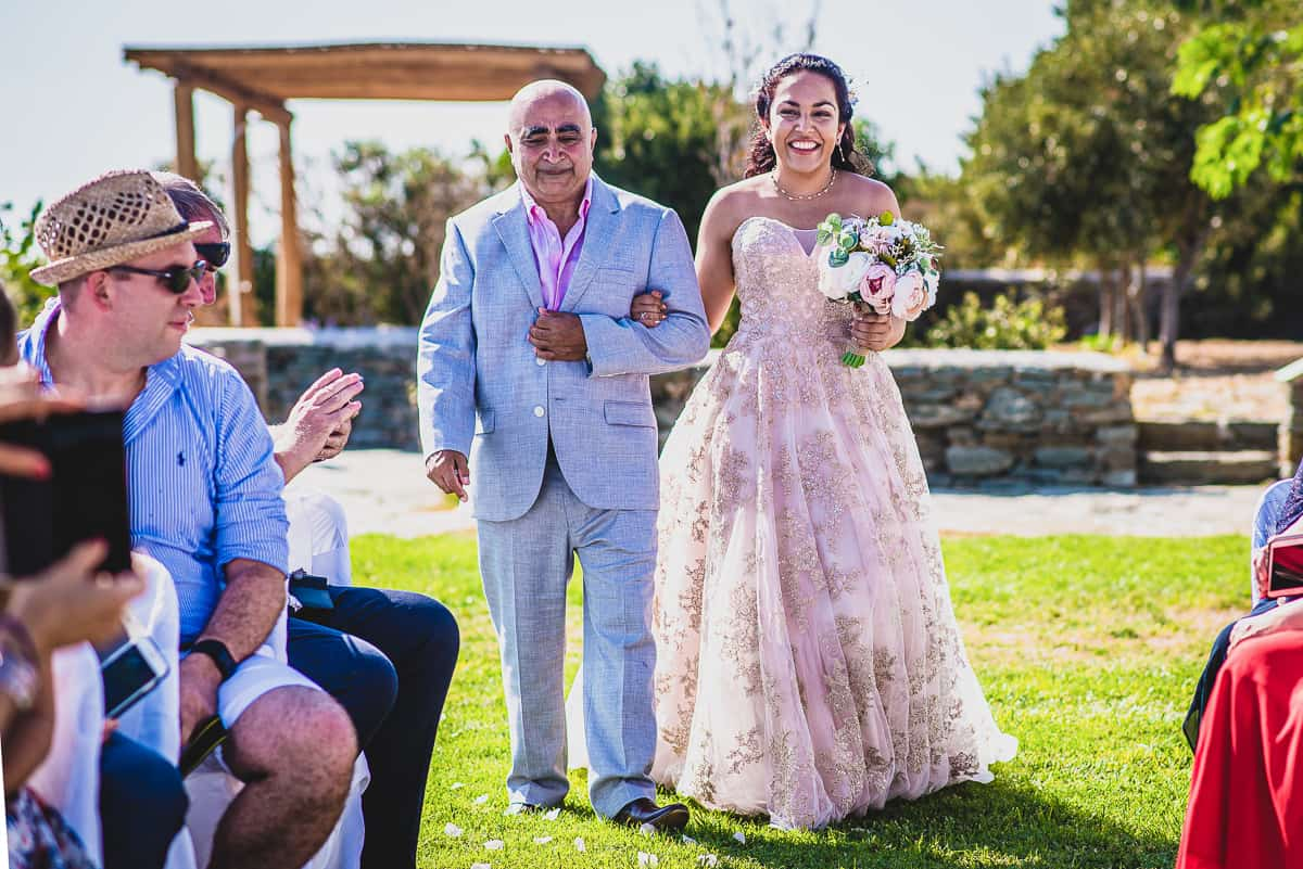 Bride and her Dad walk the aisle together Diles & Rinies Villas Destination Wedding.