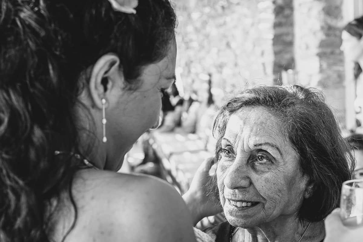 Bride and her Grandmother at Greece Island Wedding ceremony