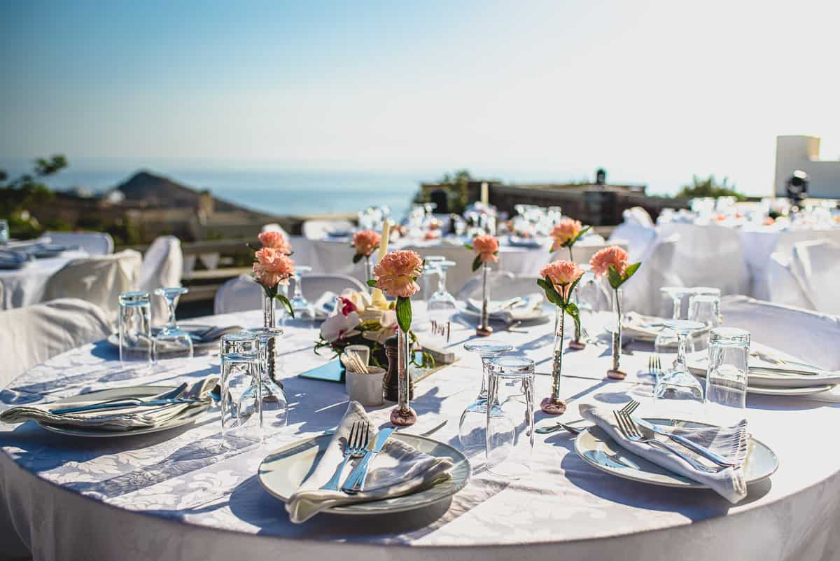 Table setting for wedding at Diles and Rinies in Tinos