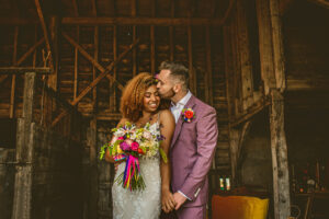 Gorgeous Bride & Groom portrait in the barn at Willow Grange Farm near Ely.