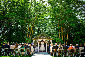 A wedding ceremony in the gazebo at Hotel Felix in Cambridge