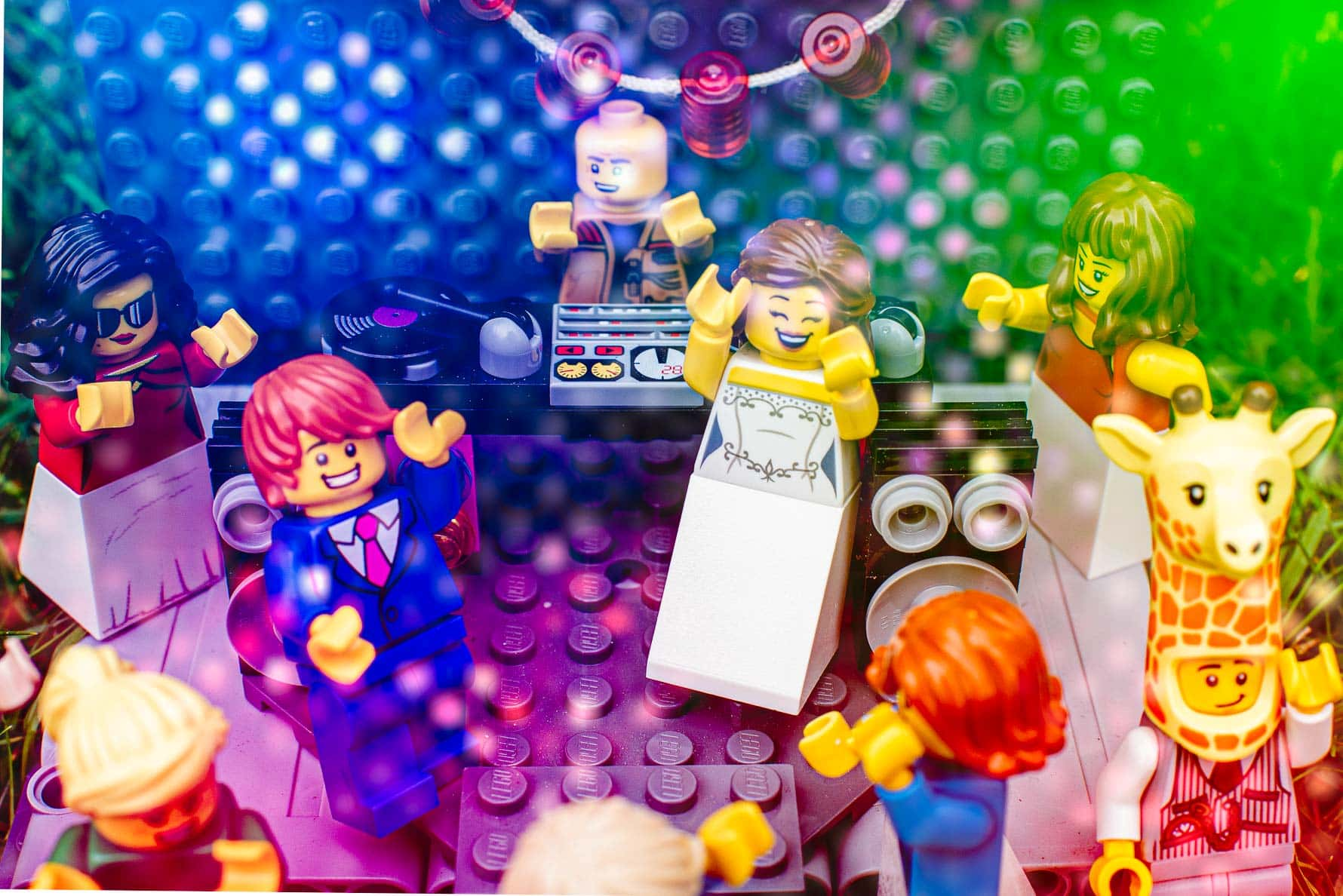 Lego Wedding guests partying on the dance floor