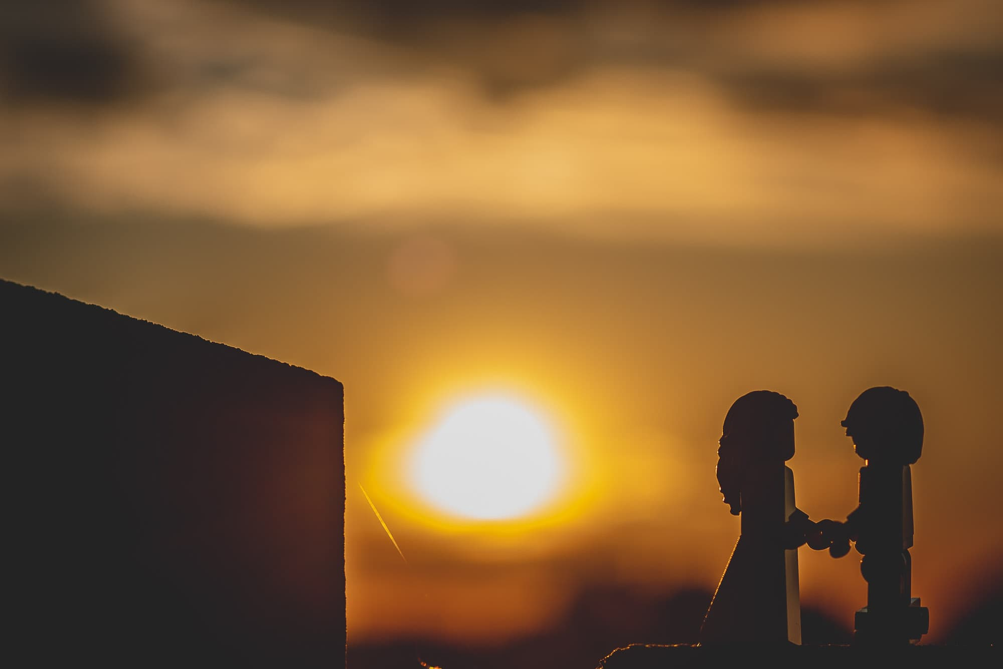 Lego Bride and Groom in Silhouette at Sunset