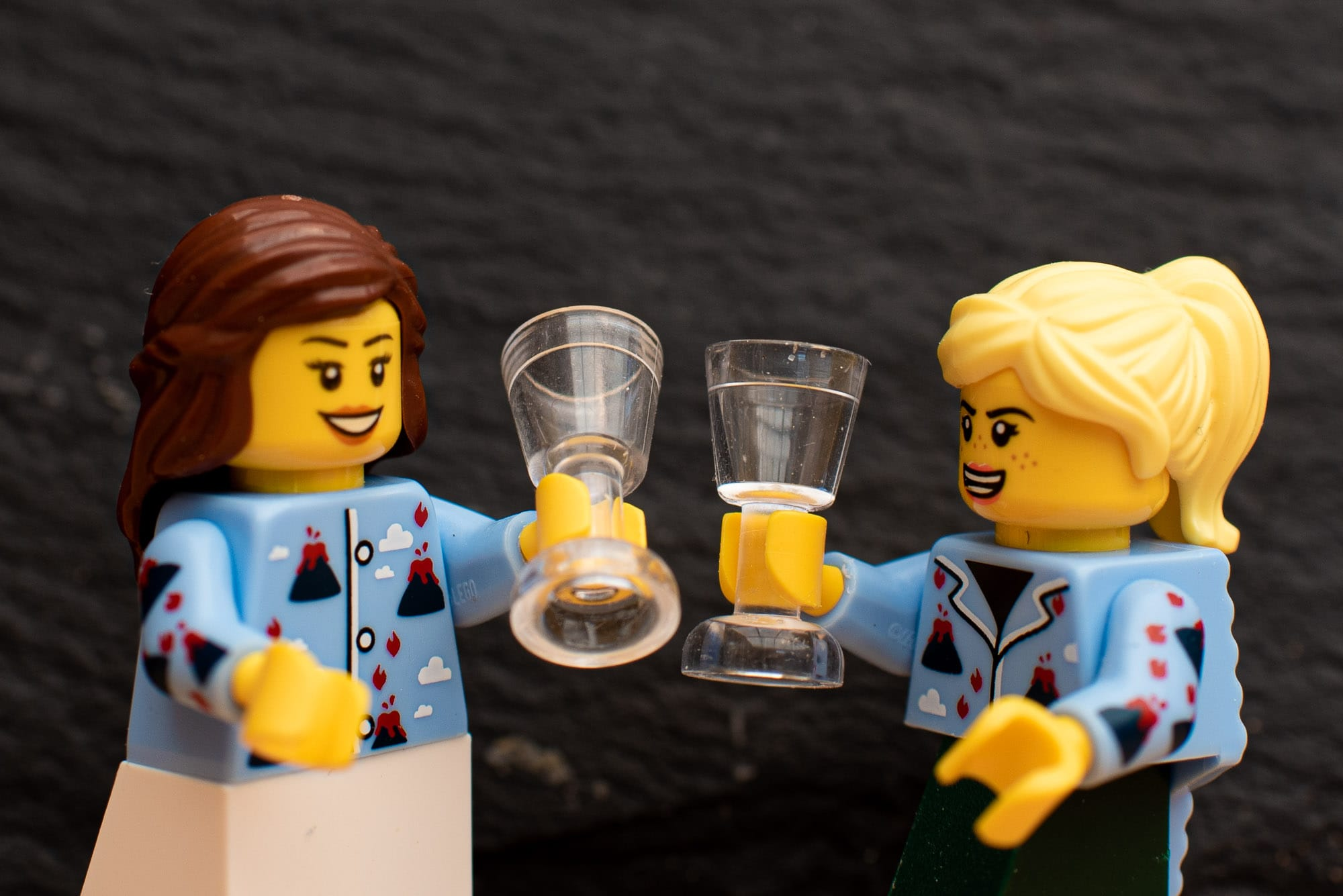 Lego Bride & Bridesmaid enjoy a glass of fizz together.