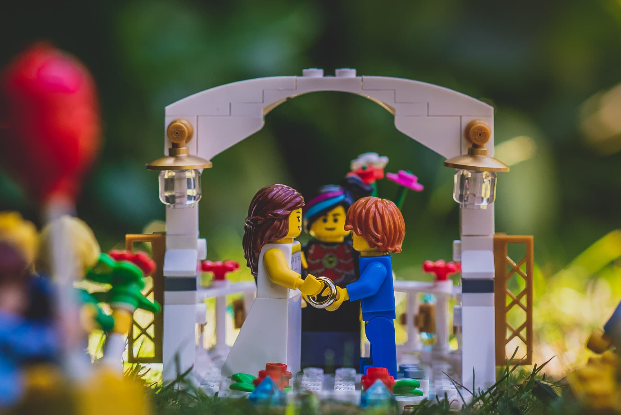Lego Bride and Groom exchanging vows