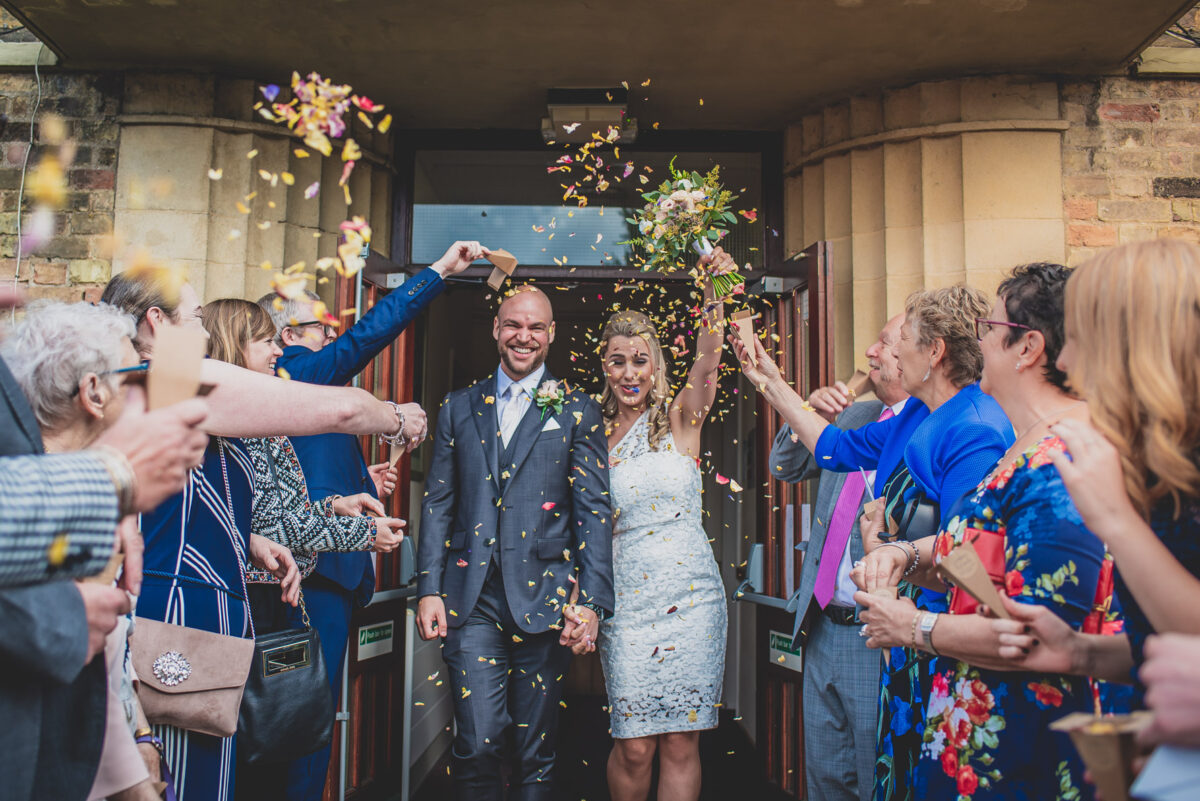 Newlyweds at Shire Hall Registry Office in Cambridge