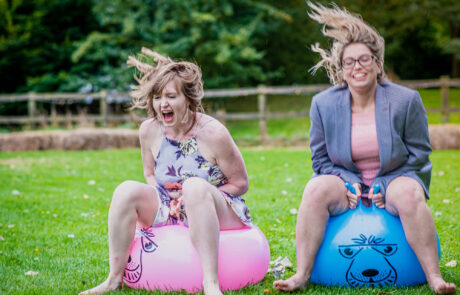 Horsley Hale Farm wedding guests on space hoppers
