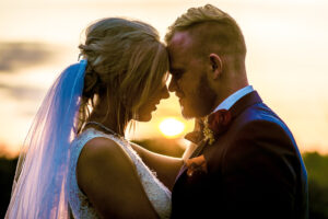 Sunset Portrait at The Thatch Barn Wedding