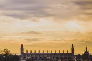 View of Kings College, Cambridge from Castle Hill