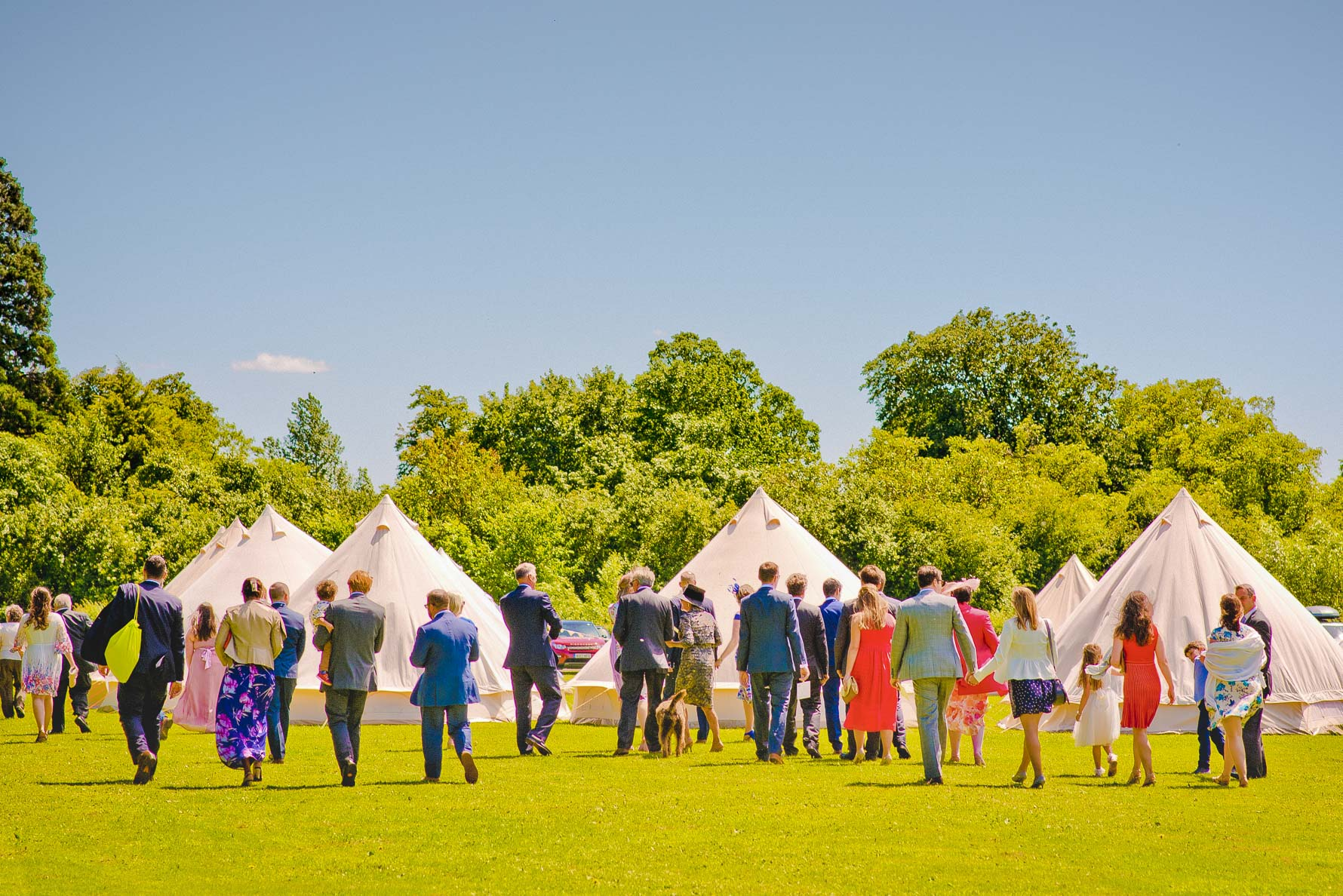 Wedding guests at Burleigh Hill Farm in Cambridgeshire