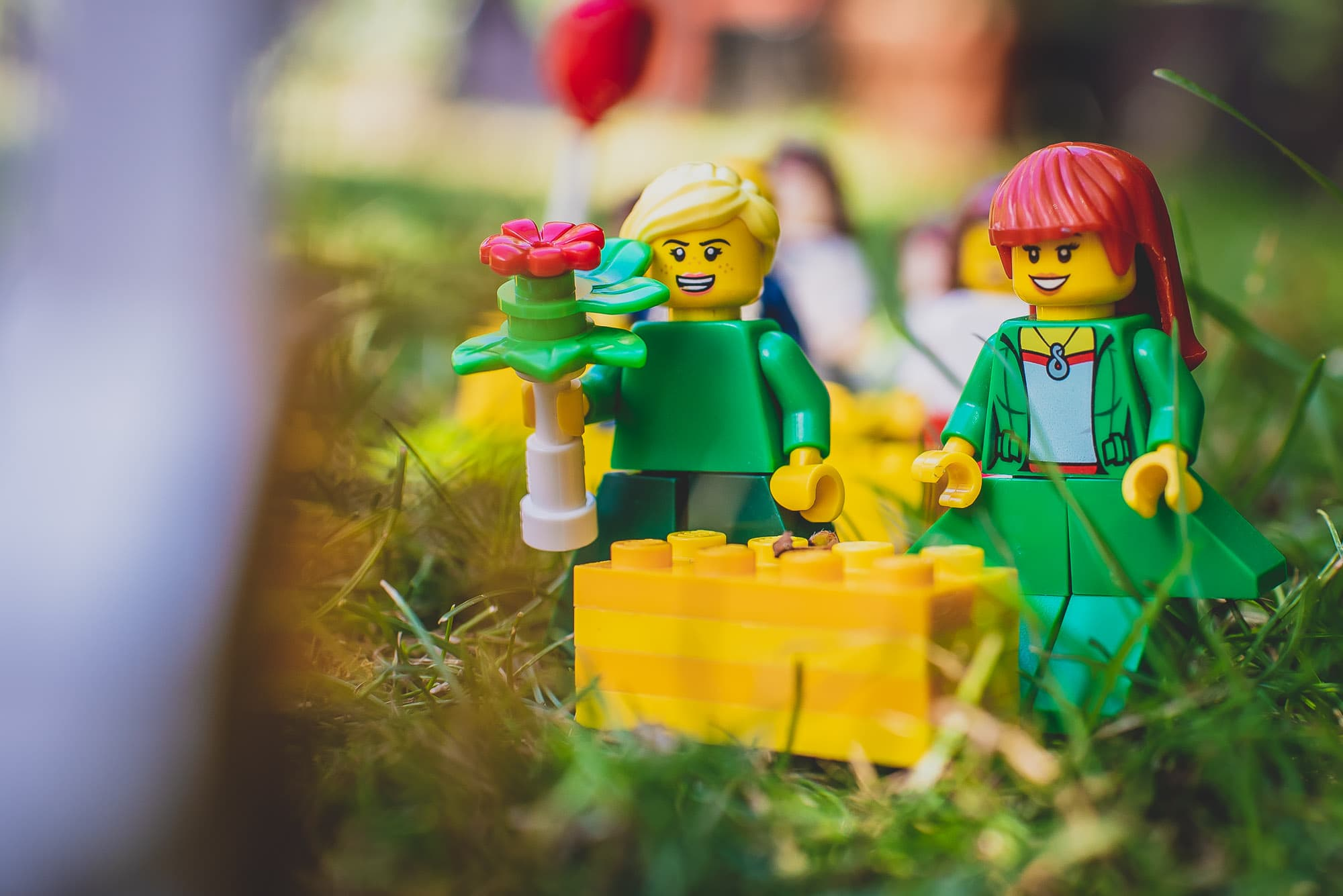 Bridesmaids at the Lego wedding look on smiling