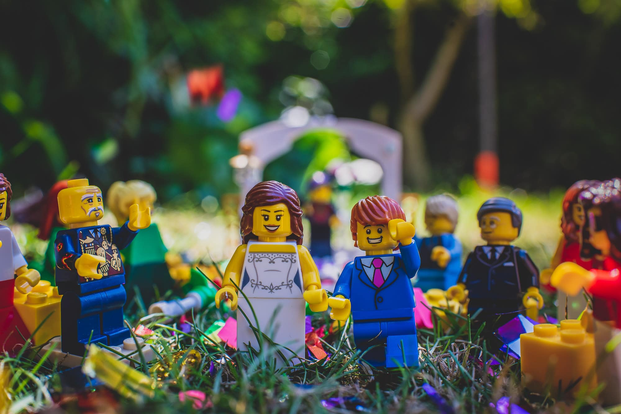 Lego Brise and Groom walk the aisle as a Newlywed couple