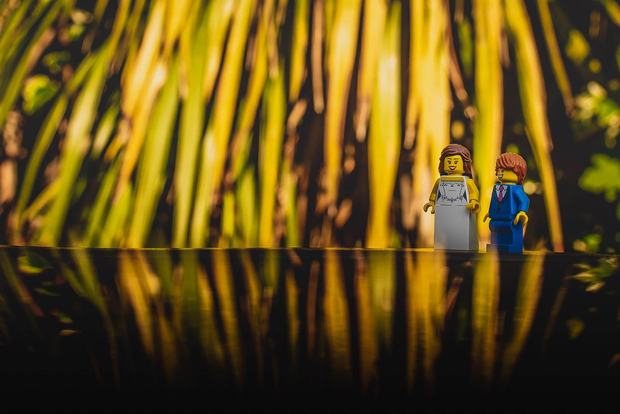 Lego couple go for a walk during their wedding