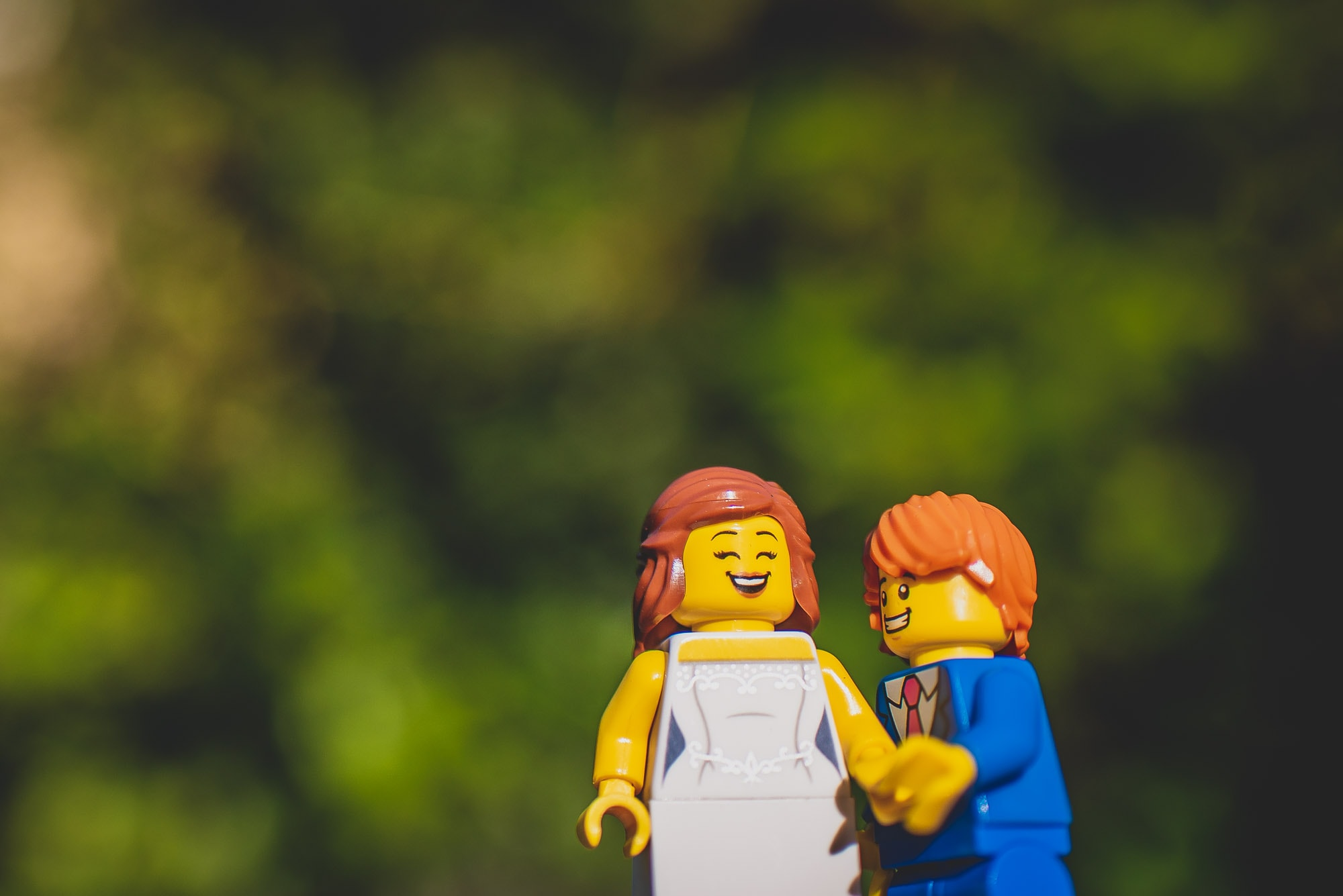 Bride and Groom pose for lego wedding couple portraits